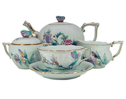 """Сервиз чайный на 6 персон, 15 предметов, декор """"Королевский сад"""" (сиреневый)"""
