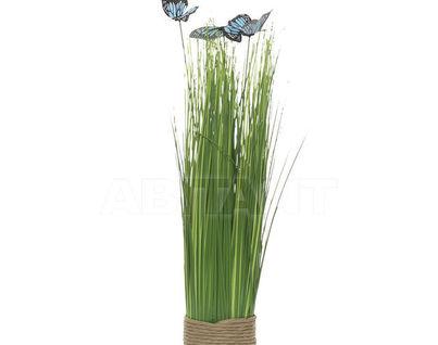 8J-14AK0041 Стебли травы с бабочками на плетеной основе 40 см (гол.) (6)