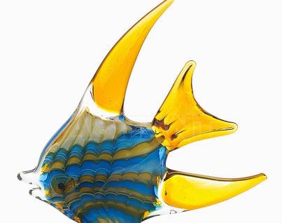 "F5442 Статуэтка""Рыба""(желто-голубая)23*4*23,5"