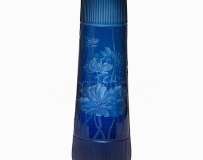 HJ1559-50-M67 Ваза стеклянная(синяя) H50D14