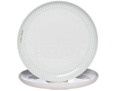 CB2193-30-F138 Тарелка белая с бирюзовым рисунком (2) 30*30*3,3