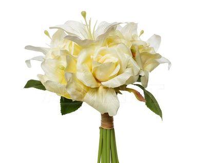 9F28017SN-4734 Букет розы-лилии желто-белый 30см (12)