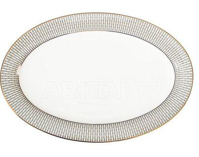 25WIN SORRENTO PL36 Тарелка овальная 36см,серый орнамент (4)