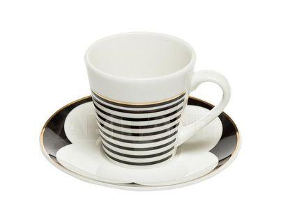 26FC VANITY CUP/S 80BL Чашка кофейная 80мл с блюдцем черно-белая (6)