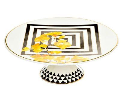 26FC VANITY CAKE20YL Подставка для торта 20 см, желтый орнамент (1)