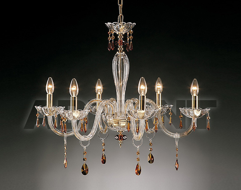 Купить Люстра Due Effe lampadari Lampadari ROSSELLA 6 L CRISTALLI AMBRA
