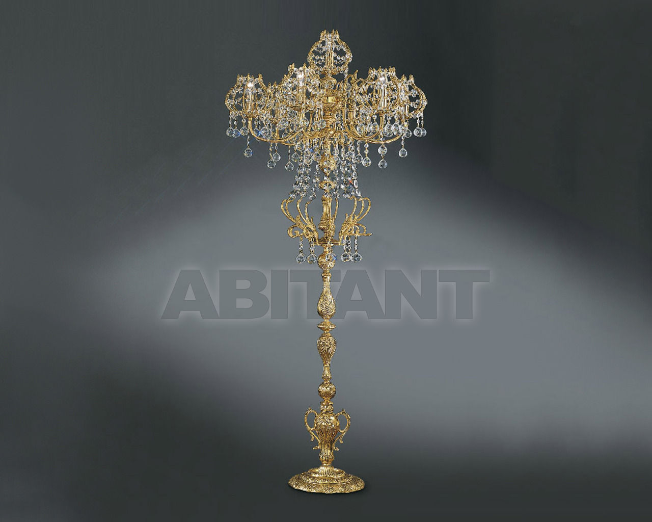 Купить Торшер Asfour Crystal Crystal 2013 FL 3507/7/7  Gold Patina .Octagons*Ball