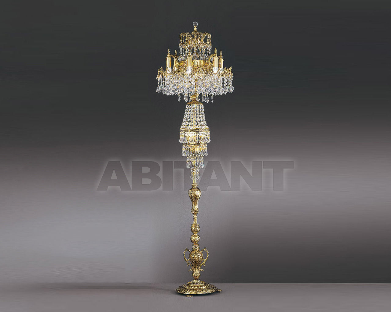 Купить Торшер Asfour Crystal Crystal 2013 FL 3508/6/6  Gold Patina .Octagons*Ball