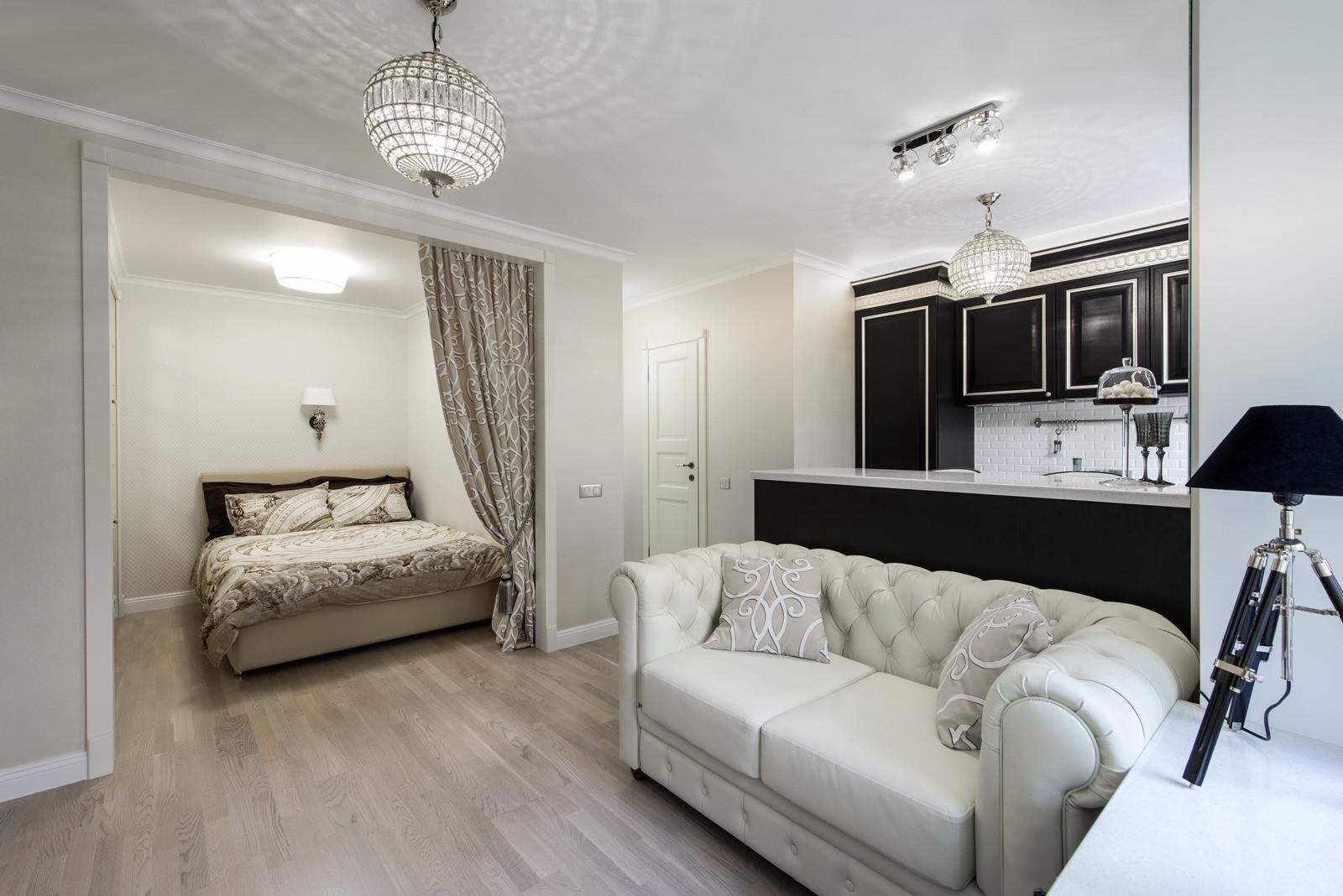 Дизайн 1 комнатной квартиры с кроватью
