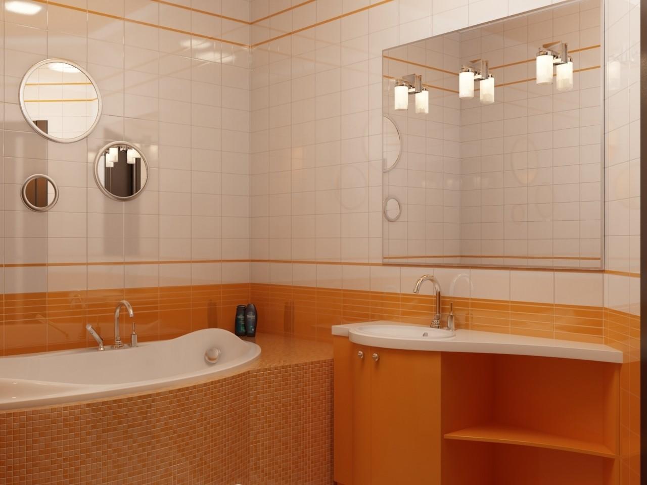 Дизайн ванной в оранжевом цвете