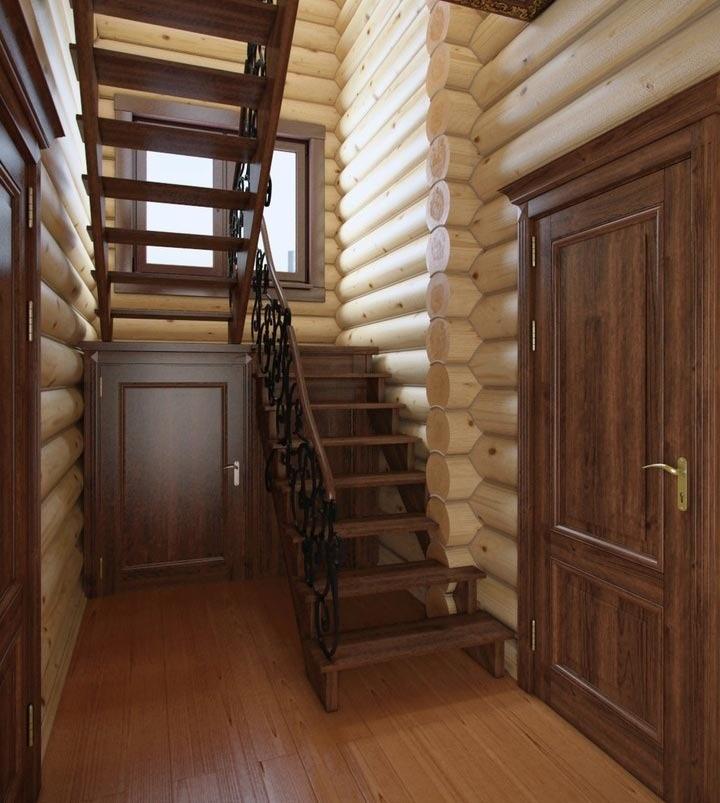 Интерьер с лестницей в деревянном доме фото