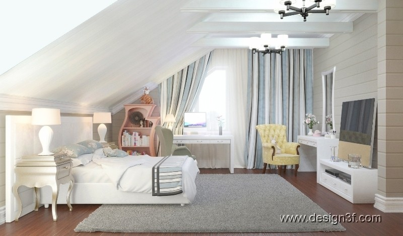 Дизайн комнаты в мансарде фото
