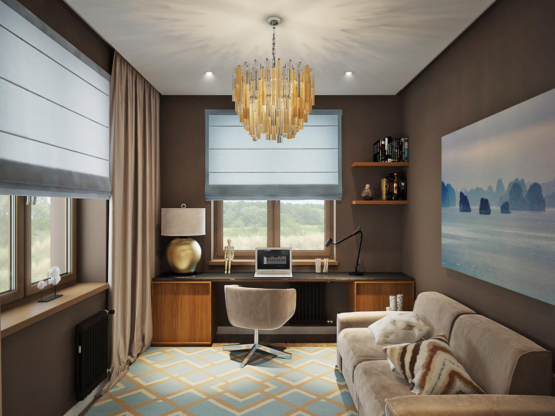 Спальня-кабинет 12 метров дизайн фото